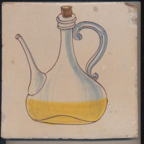 EXPO IVAM - ARTE Y GASTRONOMIA - anonimo azulejo de cocina con aceiteras
