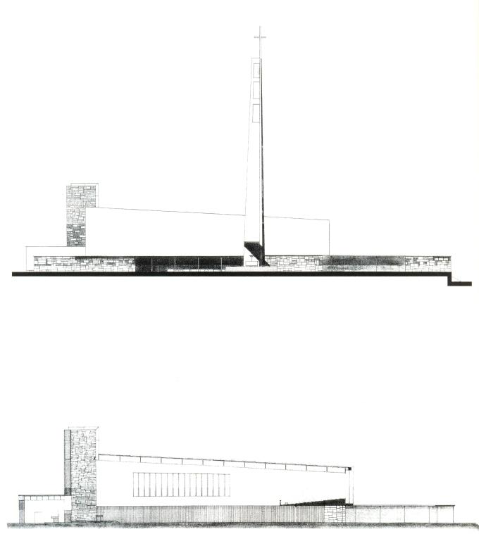 SANTUARIO VIRGEN DEL CAMINO  alzado y seccion