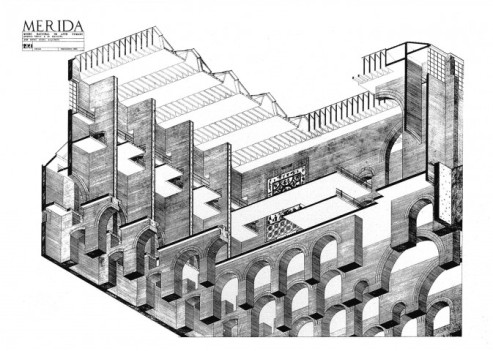 05.-Museo-Nacional-de-Arte-Romano-Mérida-España-1980-1986_Lápiz-sobre-papel_©-Rafael-Moneo.-Cortesía-Fundación-Barrié-673x480