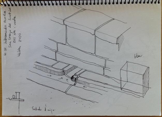 El Escorial detalle muro desague