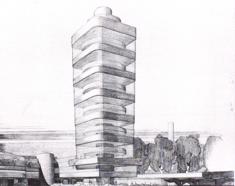 536817cec07a80b5c5000008_ad-classics-sc-johnson-wax-research-tower-frank-lloyd-wright_flw_preliminaryperspective